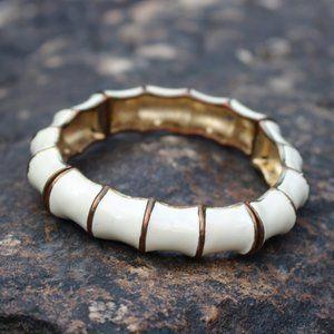 [5/$25] White Metal Bamboo Shoot Link Bracelet